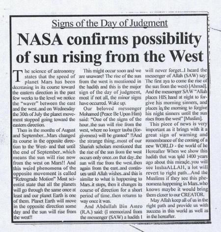 NASA Membenarkan Matahari Akan Terbit dari Barat